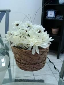 Off white floral basket